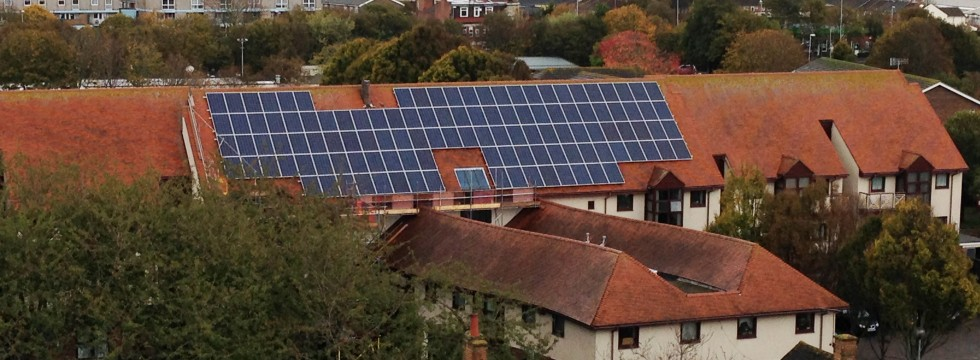 Solar panel installtion at Nicholson Gardens, Porsmouth