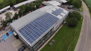 Birds-eye view of 50KW solar PV installation at Mercedes-Benz Truro