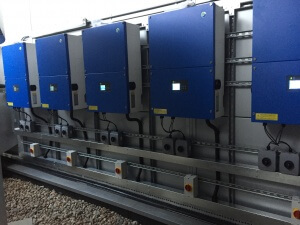 Solar inverters installed in plant room