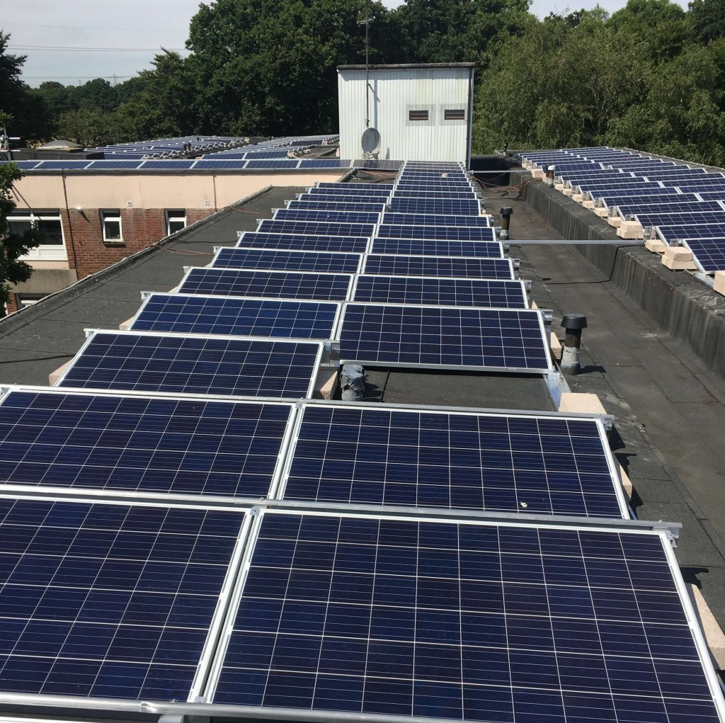 50KW flat roof system on Connors Keep near Portsmouth