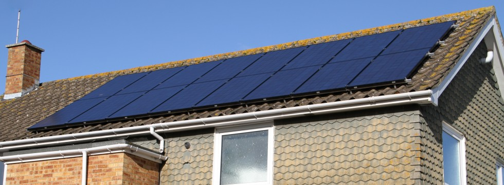 Black monocrystalline solar panel installation