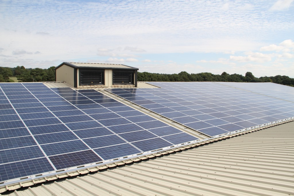 Agricultural warehouses and other large roof areas: in this case, from 2013 roof mounted 250KW solar PV installation fitted to a 1.3 Acre refrigerated barn used for cold storage of potatoes.