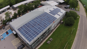 Birds-eye view of 50KW solar PV installation at Mercedes-Benz Truro